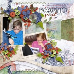 Great passtime - great quiet time too! I made my scrapbook page with  MOODY MUSE by Studio4Designworks; a mini kit and template combo all in one. I love the  bold and striking blues and orange, with pop of lime;this mini kit has a basic scrapbooking theme that will allow you to create pages with many different themes.