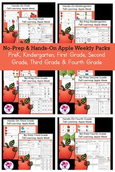 No-Prep & Hands-On Apple Themed Weekly Packs for PreK, Kindergarten, First Grade, Second Grade, Third Grade & Fourth Grade with 5 days of activities to do for each grade level - 3Dinosaurs.com #3dinosaurs #weeklypacks #noprepprintables #prek #kindergarten #firstgrade #secondgrade #thirdgrade #fourthgrade Learning Games For Kids, Preschool Learning Activities, Hands On Activities, Educational Activities, Early Learning, Fourth Grade, Second Grade, Cvce Words, Apple Theme