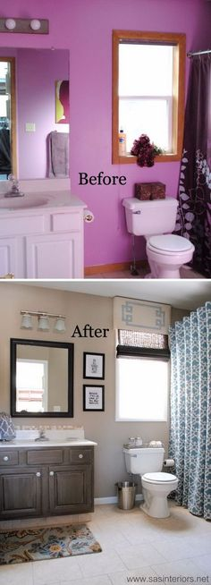 From Horrid Purple To Heavenly Gray and Beige Master Bathroom Makeover.