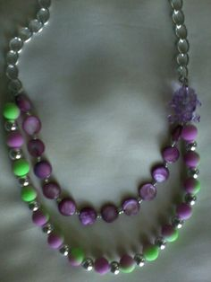 Neon green and purple statement necklace