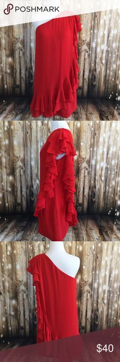 FOREVER 21 ONE SHOULDER RUFFLE DRESS Red is sexy and the color for love ❤️. In brand new excellent condition. Only worn once . Forever 21 Dresses One Shoulder