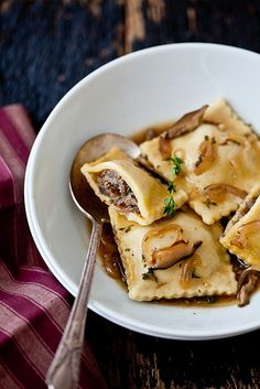 Gluten Free Ravioli With Shitake Parsley Broth