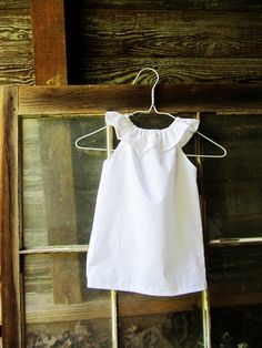 White or Ivory girls ruffle beach Dress size 6 by plainjanesstore, $19.50