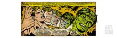 Marvel Comics Retro: The Incredible Hulk Comic Panel, Bruce Banner Transforming (aged) Premium Giclee Print at Art.co.uk