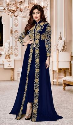 619ceb45de Avasarala Buy Blue Embroidered Faux Georgette Semi Stitched Abaya Style  Salwar With Dupatta Online