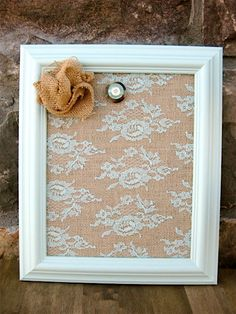 "Mini Shabby Chic Burlap and Lace Magnetic Board - 8"" x 10"" on Etsy, $27.00"