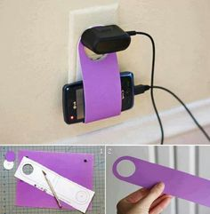 How to diy easy cardboard cell phone charging holder cell phone holder for charging Phone Charging Holder, Charger Holder, Cell Phone Holder, Phone Charger, Phone Stand, Iphone Holder, Phone Case, Tech Hacks, Tech Gadgets