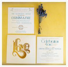 retro gold foil invitation suite