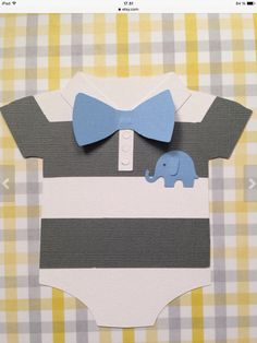 Baby Shower Boys Onesie Invitation - 25 Baby Blue Bow and Baby Elephant, striped onesie with bow - new invitations - onesie - unique Baby Shower Niño, Shower Bebe, Baby Shower Parties, Baby Shower Themes, Baby Shower Gifts, Baby Gifts, Elephant Baby Showers, Baby Elephant, Baby Shower Invitaciones