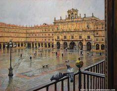 Spanish painter (1954 -)  Antonio Varas de la Rosa  - Balcón a la plaza -
