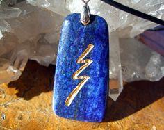 Reiki Stone Raku grounding symbol  engraved Lapis by castastone, $44.99