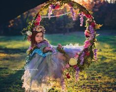 Image of Fairy Swing Set Swing Photography, Creative Photography, Children Photography, Girl Photography, Flower Skirt, Flower Girl Dresses, Fairies Photos, Crystal Garland, Floral Hoops