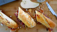 Applewood Smoked Bacon and Grilled Bosc Pear on a French Baguette… Thyme Herb, Fresh Thyme, Light Sandwiches, French Baguette, Smoked Bacon, Unsalted Butter, Hot Dog Buns, Grilling, Cooking