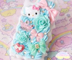 iPhone 4/4S - Kawaii Pastel Blue and Pink Hello Kitty Bow Princess Case