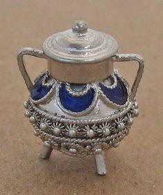 Vintage Sterling Silver Enamel Cauldron Pot Charm Pendant Detailed Etruscan 913R | eBay