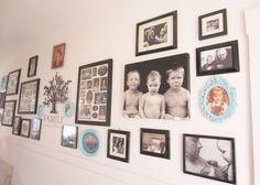 Family Photo Wall. I like the family tree in center