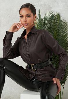 Western Style Shirt, Western Shirts, Winter Fashion Outfits, Autumn Winter Fashion, Most Beautiful Women, Style Guides, Leather Pants, My Style, Coat