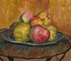 Giovanni Giacometti (1868-1933) Apples on a pewter plate. 1926