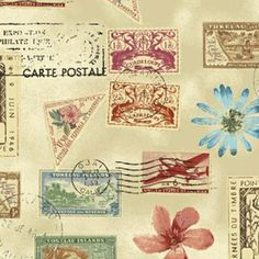 Postage Stamps Fabric