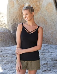 b2c1e6d8e01f1 Non-Padded Vest Top with Strapping in Black by Bravissimo