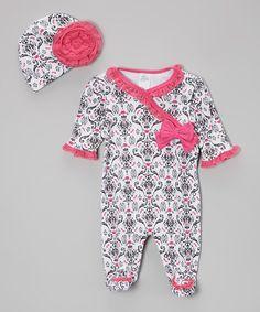 Another great find on #zulily! Pink Damask Footie & Beanie - Infant by Baby Essentials #zulilyfinds