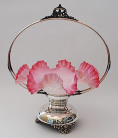 BRIDE'S BASKET - CASED GLASS BOWL WITH SILVERPLATED HOLDER c.1895