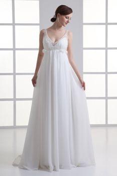 Casual Princess Spaghetti Straps Floor Length Chiffon Wedding Dress with Beading