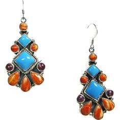 Drop Style Earrings with Spiny Oyster, Turquoise in Sterling Silver