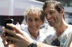 Superstar selfie - Alain Prost posing with Mark Webber! #Austrian GP 2014