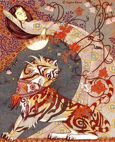 I love this Tiger.  Illustration for Tigre le Dvou by Agata Kawa
