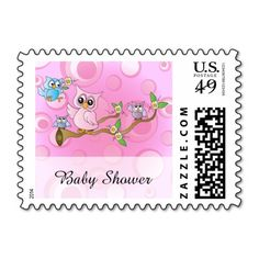 Cute Pink Owl Theme Postage