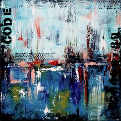 "For Sale: "" The Code "" Original Abstract Blue Urban style painting by ModernArtbyAda  