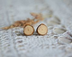 Wood slice earrings natural wood earring made by MyPieceOfWood