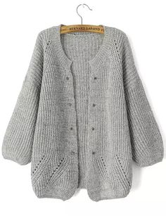 SheIn offers Light Grey Long Sleeve Rivet Studs Knit Cardigan & more to fit your fashionable needs. Knitted Jackets Women, Cardigan Sweaters For Women, Cardigans For Women, Cashmere Cardigan, Shrug Sweater, Knit Cardigan, Gray Cardigan, Open Cardigan, Loom Knitting
