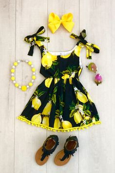Black Lemon Dress - Sparkle in Pink Cute Baby Girl Outfits, Cute Outfits For Kids, Little Girl Dresses, Toddler Outfits, Girls Dresses, Toddler Girl Dresses, Baby Girl Fashion, Kids Fashion, Baby Dress Design
