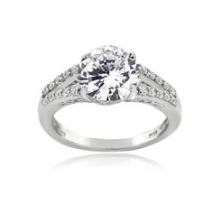 ICZ Stonez Sterling Silver 3 3/4ct TGW 100-facet Cubic Zirconia Solitaire Ring (Pink Size 7), Women's, White