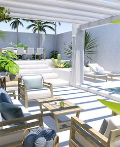 Concept design of a contemporary tropical backyard with pool. Design and visualisation by Eleni Psyllaki for My Paradissi Outdoor Living Rooms, Outdoor Spaces, Outdoor Decor, Design Exterior, Patio Design, Patio Tropical, Tropical Vibes, Garden Furniture, Outdoor Furniture Sets