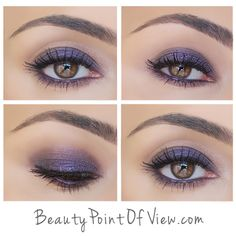 Prime eyes w/UD Primer in Eden-shimmery. Apply MAC Saddle into crease. Press Loreal Purple Obsession all over eyelid w/fingers. Blend where purple color meets MAC Saddle. Draw a very thin line along upper lash line w/black eyeliner, smudge it out w/brush for a softer look. Again apply purple eyeshadow along lower lashline smudging the color into a soft line. MAC Saddle again over lower lashline to diffuse purple shadow. Line inner rim w/black eyeliner, press purple shadow over this black…