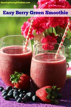 This easy Berry Green Smoothie recipe is a simple way to get some kale and berries into your children or yourself! Delicious and a fast way to get your fruits and veggies!