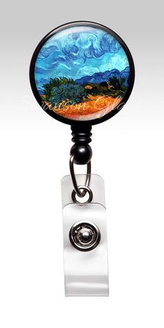 Retractable Badge Holder - Van Gogh Impressionist landscape - ID Badge Reel Clips - Nurse Badge - ID Badges - Teacher RN 264 by PrettyPictureGiftsCo on Etsy https://www.etsy.com/listing/178417534/retractable-badge-holder-van-gogh