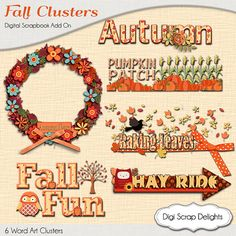 Autumn Cluster Word Art  Fall Wreath Pumpkin, Owl, Pumpkin Patch, Corn Maze Hay Ride by DigiScrapDelights,