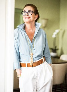 it is nice to see older women featured - Thank you for pinning this website. I've been searching for one that features classic clothing and good taste.