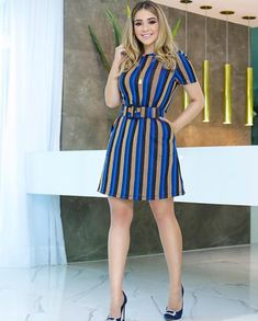 Outfits ideas & inspiration : Now I will share some ideas of striped dresses to wear in spring, striped dresses and bows to wear in spring, striped dresses and belt to wear in spring, Classy Dress, Classy Outfits, Chic Outfits, Fashion Outfits, Mens Fashion, Modest Dresses, Pretty Dresses, Casual Dresses, Short Sleeve Dresses