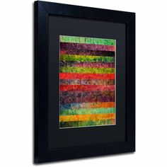Trademark Fine Art Brocade and Stripes 1 inch Canvas Art by Michelle Calkins, Black Matte, Black Frame, Size: 11 x 14