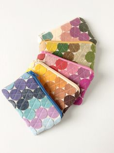 Geo-Dot Merino Wool Coin Purse