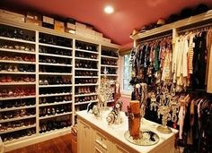 Don't know what's more sad, that this isn't my closet... or that I own enough shoes to fill that closet. I dislike the ceiling though.