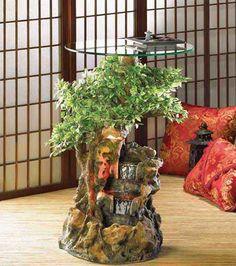 Bonsai Water Fountain Table // mesa p/ sala com cascata. Indoor Floor ...