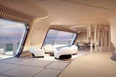 Oceanco 115 Meter Tuhura Superyacht Dubai International Boat Show Mega Yacht Big Yacht Charter Super Mega Yacht For Hire Luxury Yacht Futuristic Interior, Futuristic Design, Futuristic Architecture, Interior Architecture, Yacht Design, Futuristisches Design, House Design, Big Yachts, Luxury Yachts