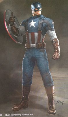 "Concept art of Captain America from Marvel's ""Captain America: The Winter Soldier"" (2014)."