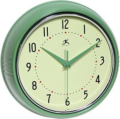 Infinity-Instruments-Retro-9-12-Inch-Round-Metal-Wall-Clock-Green-0-0